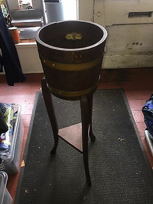 Antique Oak Brass Banded Barrel Plant Stand by R A Lister & CO LTD