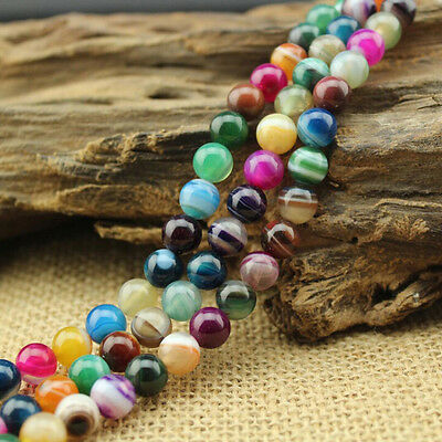 Natural Colorful Round Loose Beads Chalcedony Stripe Agate Gemstone Stone 15.5''