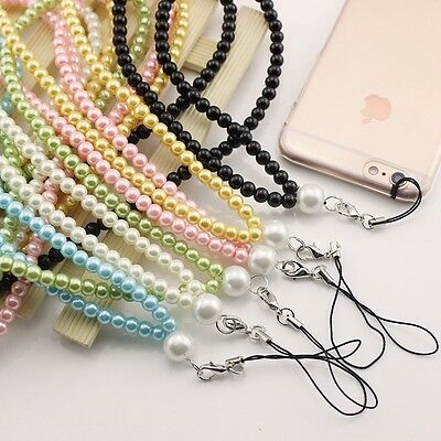 80cm Necklace Pearls Long chain Keychain KeyRing Phone Straps Neck Lanyard