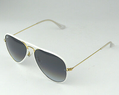 Ray-Ban RB3025JM Aviator Full Color 146/32 White, Gold Frame/Light Grey Gradient