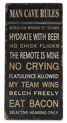 Large Man Cave Rules Vintage Hanging Metal Sign Men's Gift Beer Bachelor Pad