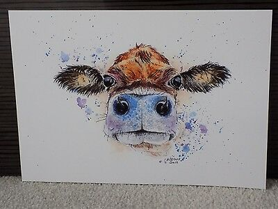 A4 PRINT Of JERSEY COW Watercolour Painting, Wildlife/Bird/Animal Art