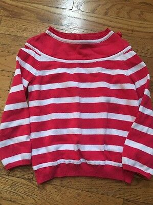Gymboree Girls Size 5-6 Pink And White Striped Sweater