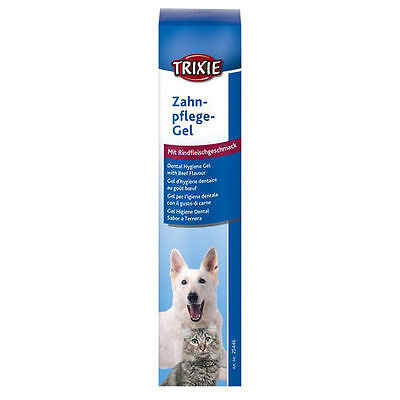 Trixie Cat Dog Dental Gel Cleans & Cares For Teeth Keeps Breath Fresh - Beef Fla