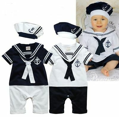 BNWT Baby Boy Sailor Romper Playsuit Hat Suit Grow Outfit Summer Marine 0-24m