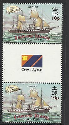Falkland Islands 2001 Ss Great Britain Ship Gutter Pair Mnh