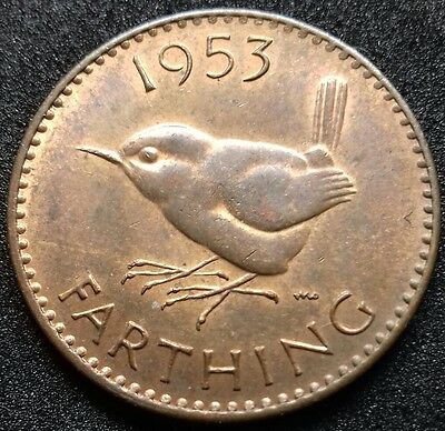 1953 Farthing. Dies 2 + A. Very Rare Variety. Extremely Fine.