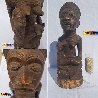 PREMIUM Tribal African Art - Bakongo Maternity Figure Sculpture Statue Mask