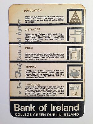 1953 Bank of Ireland Coin and Currency Tourist Information Card Laminated