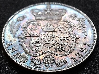 1821 Sixpence. S3813. Stunning Multi Coloured Tones.
