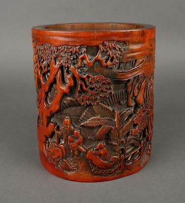 OLD Chinese large Bamboo Brush Pot, late Qing
