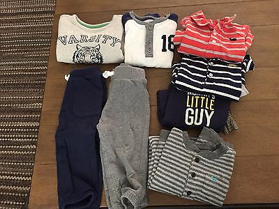 Carters 12 Month Baby Boy One Piece Jumper, Pant, Shirt Top Outfit Lot