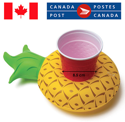 INFLATABLE CUP HOLDER Pineapple Cute Summer Party Floating Can Pool Bath Drink