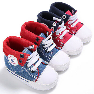 Infant Toddler Sneakers Baby Boy Girl Soft Sole Canvas Shoes Lace UP Trainers