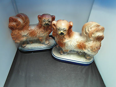 Antique Pair Of Staffordshire  Pekingese Dogs