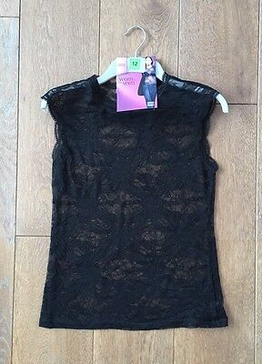 New Womens M&S Black Sleeveless Floral Lace Top Sizes 12 14
