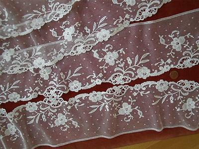 *4YDS ETHEREAL HM Antique Vtg BELGIAN BRUSSELS APPLIQUE NET LACE WEDDING FLOUNCE