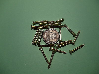"""20 #2 3/4""""  SLOTTED BRASS WOOD SCREWS w/ FLAT HEAD FOR ANTIQUE CLOCK REPAIR"""
