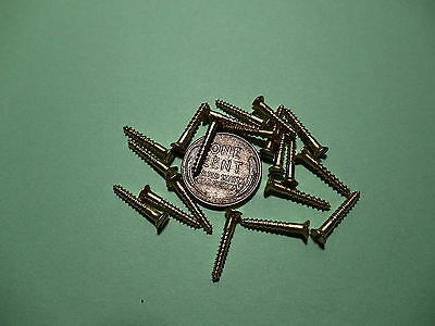 """20 #2 5/8""""  SLOTTED BRASS WOOD SCREWS w/ FLAT HEAD FOR ANTIQUE CLOCK REPAIR"""