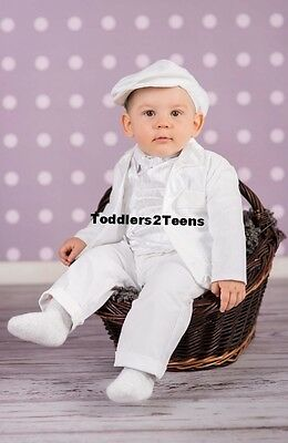 Baby Boy 6pcs WHITE SUIT Christening Pageboy Formal Smart Outfit Waistcoat 0-18M