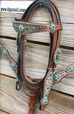 Teal Concho & Brown Gator Western Tack Set.  Headstall & Breast Collar
