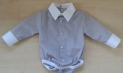 Baby Boy GREY WHITE Dotted Smart Shirt Formal Bodysuit Body Long Sleeve 0-24m