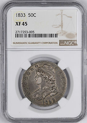 1833 Capped Bust Silver Half Dollar 50C - NGC XF45 -