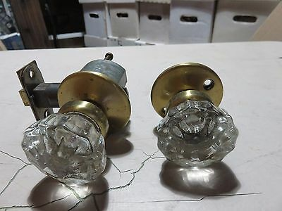 Antique Glass and Brass Door Knob Set with Latch