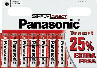 10 x AA Genuine PANASONIC Zinc Carbon Batteries - New R6 1.5V Expiry 11/2019 UK