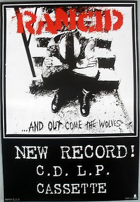Rancid And Out Come The Wolves 1995 Vintage Punk Music Record Store Promo Poster