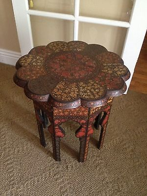 Antique Hand Painted Floral side end Table collapsible Very Cool !!!