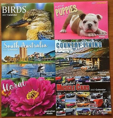 2017 Calendars Birds / Puppies / South Australia / Country / Floral /Muscle Cars