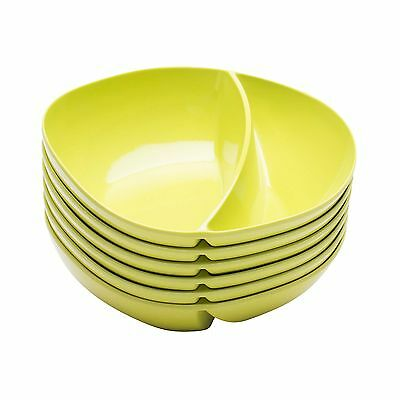 Zak Designs Moso Divided Bowl 7.5-Inch Kiwi Set of 6 New