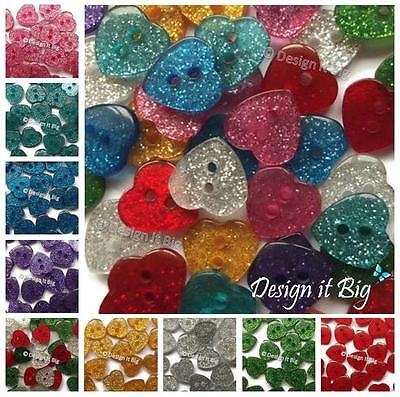 Glitter Heart Buttons for Crafts or Sewing - Mixed or Non-Mixed - 2 Holes 13mm