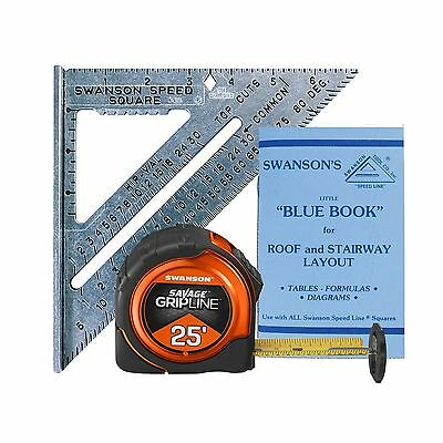 Swanson Tool SW0125G 7-Inch Speed Square and 25-Feet Savage Gripline Tape... New