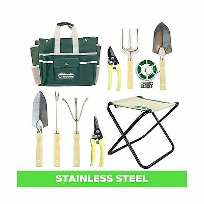 10 Piece Garden Tool Set includes Folding Stool Storage Bag 5 Heavy Duty ... New