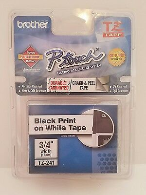 "Genuine Brother P-Touch TZ-241 Black on White Tape, 3/4"" Wide (NEW)"