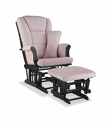 Storkcraft Tuscany Custom Glider and Ottoman Black/Pink Blush Swirl New
