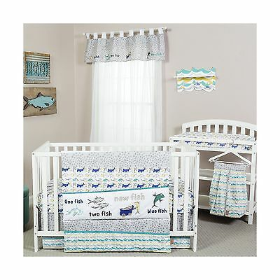 Trend Lab Dr. Seuss New Fish 5 Piece Bedding Set Blue Green and Gray New