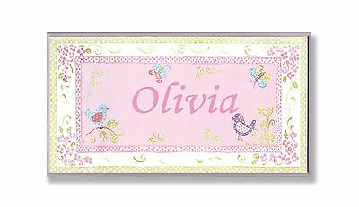 The Kids Room by Stupell Olivia Pink and Green Chickadees Personalized Re... New