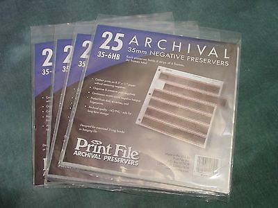 Print File 35-6HB Negative Preservers for 35mm film 4 Paks of 25 pages