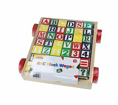 Deluxe 42 Piece Classic Wooden ABC/123 Stack N' Build Blocks Wagon with L... New