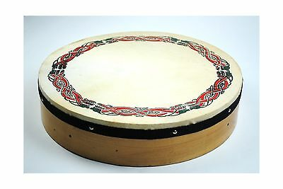 Original 16 Inch Irish Bodhran with Celtic Design and Rosewood Beater New