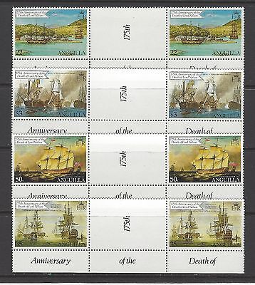 ANGUILLA  # 429-432  MNH  LORD NELSON SHIPS,  Gutter Pairs