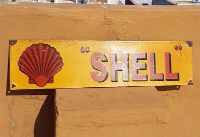 "Original Old Vintage Rare ""Shell"" Oil Ad Porcelain Enamel Sign Board Collectible"