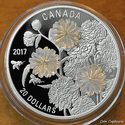 2017 $20 Pearl Flowers Proof w/ Mother of Pearl enhancements .9999 fine silver