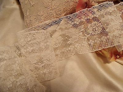 """Antique French Cotton Floral Insertion Lace Doll Craft 35"""" 2.5"""" Wide"""