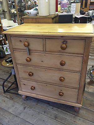 A BEAUTIFUL ANTIQUE,VICTORIAN PINE CHEST OF DRAWERS 2 Over 3