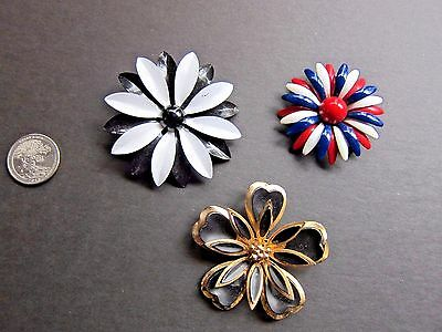 Three (3) Large Vintage Flower Power Pins~2 Enamel including Red, White, Blue