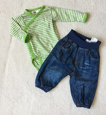 ***M&S/ H&M baby boy 2 denim joggers/lined trousers 0-3-6 months VGC!***